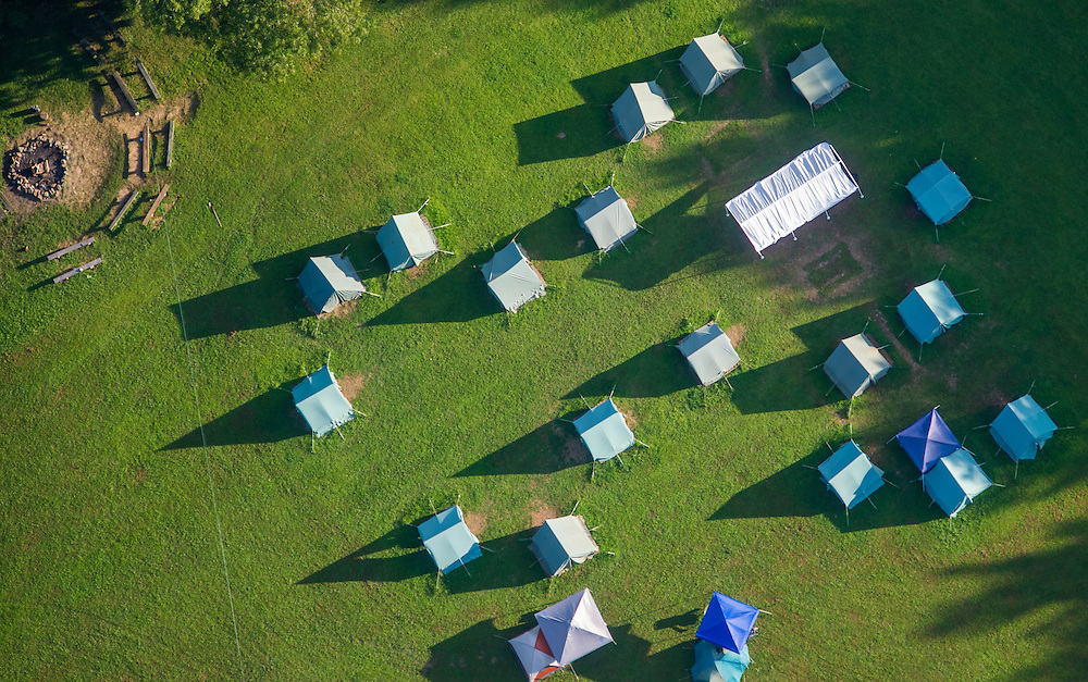 Aerial view of boy scout tents set up in a field in Harford County, Maryland