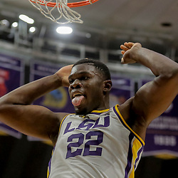 Jan 8, 2019; Baton Rouge, LA, USA; LSU Tigers forward Darius Days (22) reacts following a dunk against the Alabama Crimson Tide during the second half at the Maravich Assembly Center. Mandatory Credit: Derick E. Hingle-USA TODAY Sports