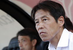 LUGANO, June 9, 2018  Japan's coach Akira Nishino reacts ahead of the international friendly match against Switzerland at the Stadium Cornaredo in Lugano, southern Switzerland June 8, 2018. Switzerland won 2-0. (Credit Image: © Ruben Sprich/Xinhua via ZUMA Wire)