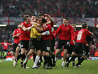 Photo: Lee Earle.<br /> Barnsley v Swansea City. Coca Cola League 1. Play off Final. 27/05/2006. Barnsley keeper Nick Colgan is mobbed after saving Swansea's last penalty.