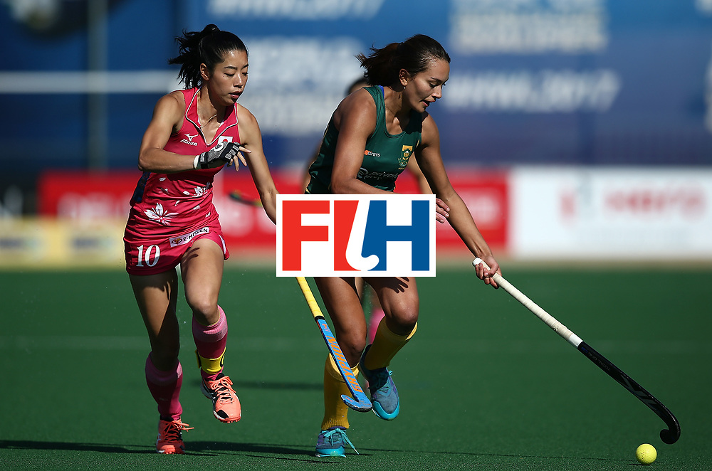 JOHANNESBURG, SOUTH AFRICA - JULY 22:  Quanita Bobbs of South Africa controls the ball from Hazuki Yuda of Japan day 8 of the FIH Hockey World League Women's Semi Finals 5th/ 6th place match between Japan and South Africa at Wits University on July 22, 2017 in Johannesburg, South Africa.  (Photo by Jan Kruger/Getty Images for FIH)