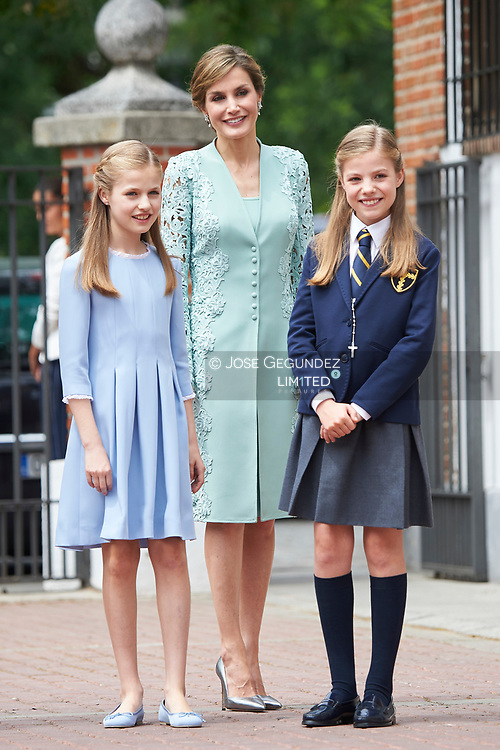 Queen Letizia of Spain, Princess Sofia, Crown Princess Leonor leave Asuncion de Nuestra Senora Church after the First Communion of Princess Sofia on May 17, 2017 in Aravaca near of Madrid.