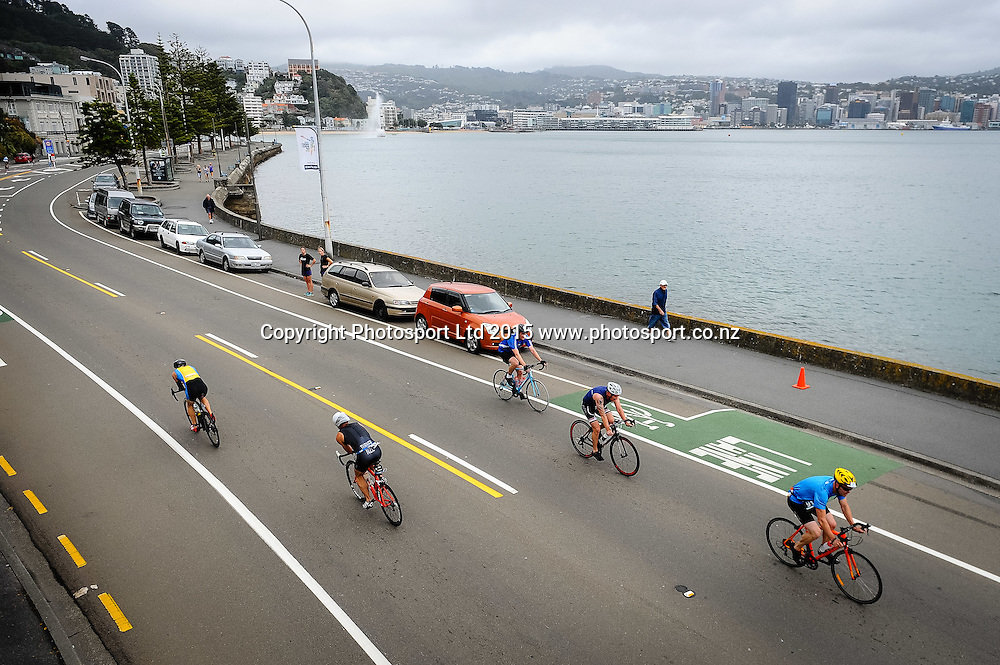 Competitors ride along Oriental Bay on the bike leg of the Sovereign Tri Series, Waterfront, Wellington, New Zealand. Saturday 14 March 2015. Copyright Photo: Mark Tantrum/www.Photosport.co.nz