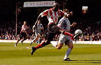 Photo: Alan Crowhurst.<br />Brentford v Bradford City. Coca Cola League 1. 08/04/2006. Brentford's LLoyd Owusu shoots at goal.