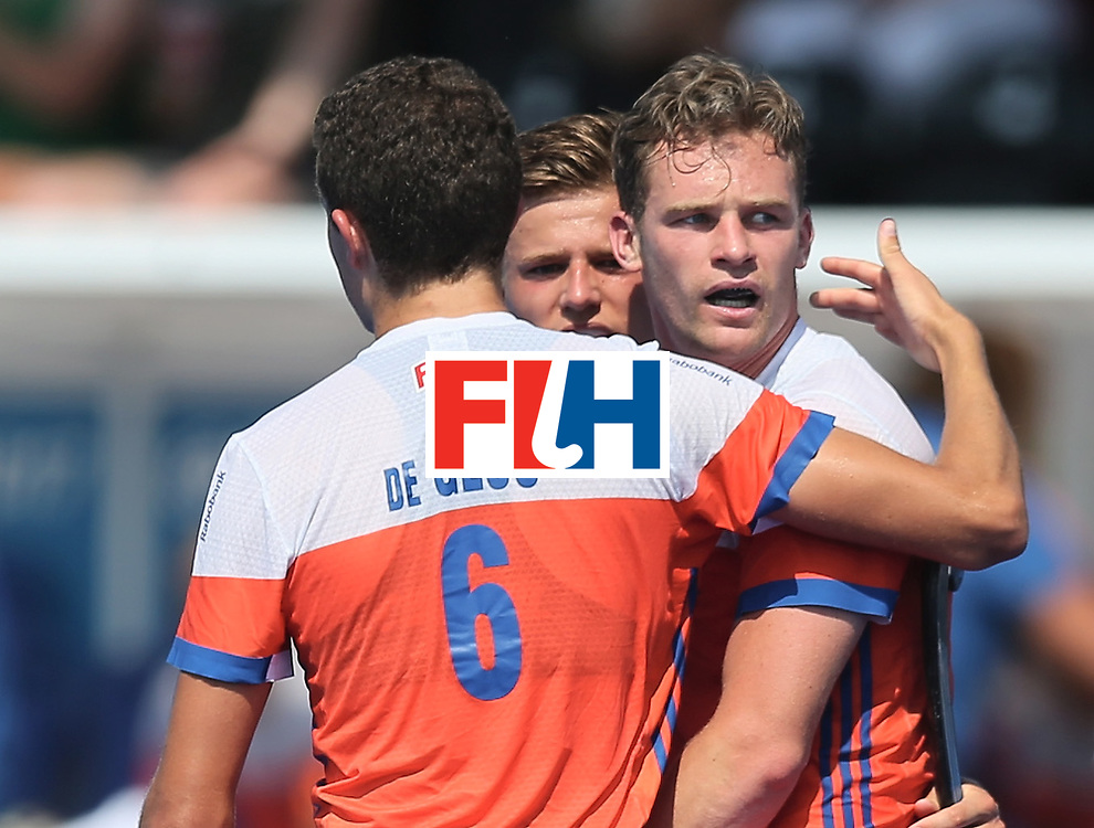 LONDON, ENGLAND - JUNE 19:  Mirco Pruijser of the Netherlands celebrates scoring his teams third goal with teammate Jonas de Geus of the Netherlands during the Hero Hockey World League Semi-Final match between Netherlands and Canada at Lee Valley Hockey and Tennis Centre on June 19, 2017 in London, England.  (Photo by Alex Morton/Getty Images)