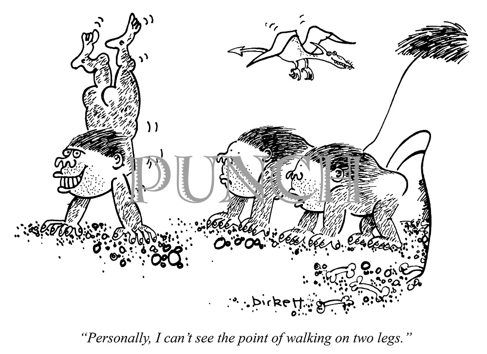 """Personally, I can't see the point of walking on two legs."""