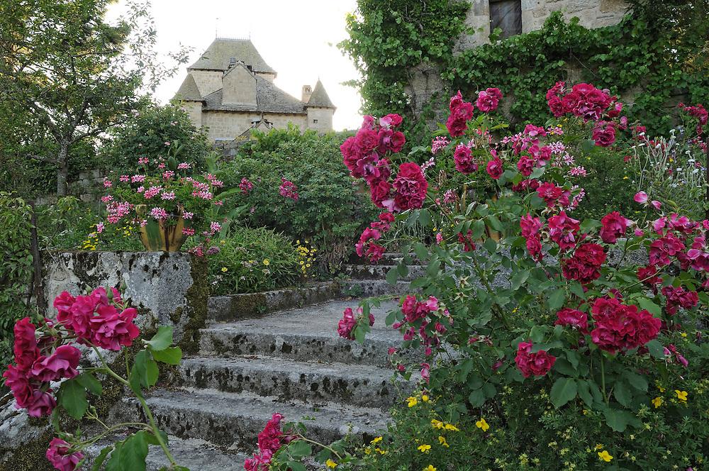 France, Languedoc Roussillon, Lozère, Margeride, Ribennes, château de Combettes, monument historique, le jardin