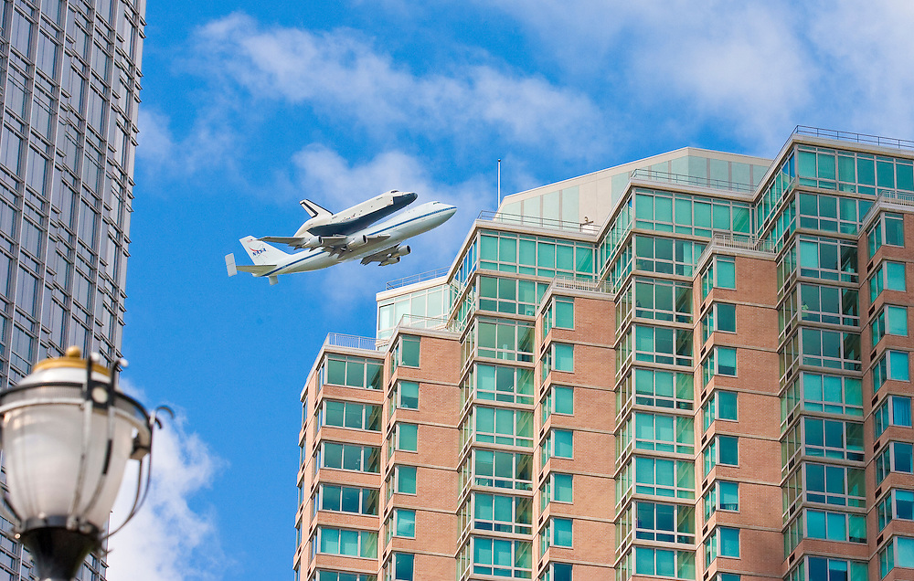 The Enterprise flying over Jersey City, NJ