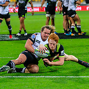 Finlay Christie scores during the Super Rugby union game between Hurricanes and Sunwolves, played at Westpac Stadium, Wellington, New Zealand on 27 April 2018.   Hurricanes won 43-15.