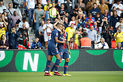 Kylian Mbappe (PSG) scored the second goal and celebrated it with Neymar da Silva Santos Junior - Neymar Jr (PSG) during the French championship L1 football match between Paris Saint-Germain (PSG) and SCO Angers, on August 25th, 2018 at Parc des Princes Stadium in Paris, France - Photo Stephane Allaman / ProSportsImages / DPPI