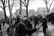 Germany, Frankfurt am Main : A riot policeman  argues with an activist on the opening day of the European Central Bank (ECB) in Frankfurt am Main, western Germany, on March 18, 2015 The Ecb inaugurated today its new headquarter.<br /> <br /> .