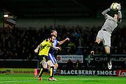 Burton's Jon McLaughlin (1) makes a save during the EFL Sky Bet Championship match between Burton Albion and Birmingham City at the Pirelli Stadium, Burton upon Trent, England on 21 October 2016. Photo by Richard Holmes.