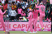 David Miller celebrates a wicket  during the One Day International match between South Africa and England at Bidvest Wanderers Stadium, Johannesburg, South Africa on 9 February 2020.
