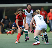 SPV Complutense's Lucia Jimenez runs at Surbiton's defence during their opening game of the EHCC 2017 at Den Bosch HC, The Netherlands, 2nd June 2017