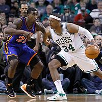 04 March 2012: New York Knicks guard Iman Shumpert (21) defends on Boston Celtics small forward Paul Pierce (34) during the Boston Celtics 115-111 (OT) victory over the New York Knicks at the TD Garden, Boston, Massachusetts, USA.