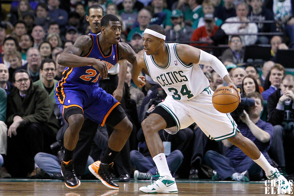 04 March 2012: New York Knicks guard Iman Shumpert (21) defends on Boston Celtics small forward Paul Pierce (34) during the Boston Celtics 115-111 (OT) victory over the New York Knicks at the TD Garden, Boston, Massachusetts, USA.