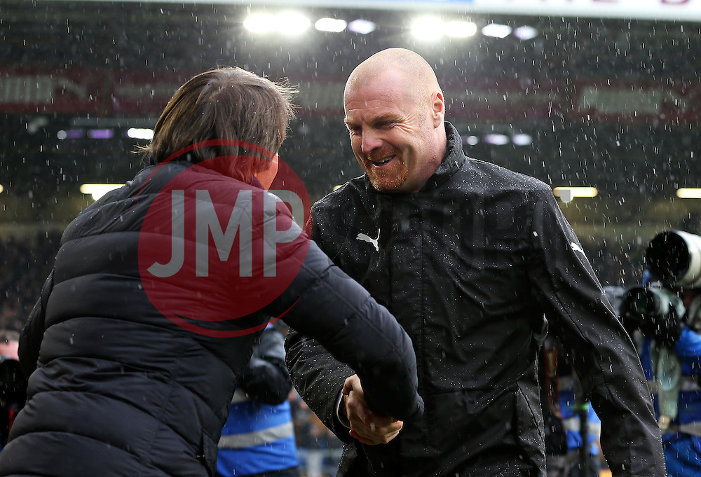 Burnley manager Sean Dyche shakes hands with Chelsea manager Antonio Conte - Mandatory by-line: Matt McNulty/JMP - 12/02/2017 - FOOTBALL - Turf Moor - Burnley, England - Burnley v Chelsea - Premier League