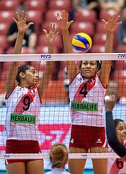 18-05-2016 JAP: OKT Peru - Italie, Tokio<br /> Italië verslaat Peru met 3-0 / Katherine Regalado #9 of Peru, Alexandra Machado #4 of Peru