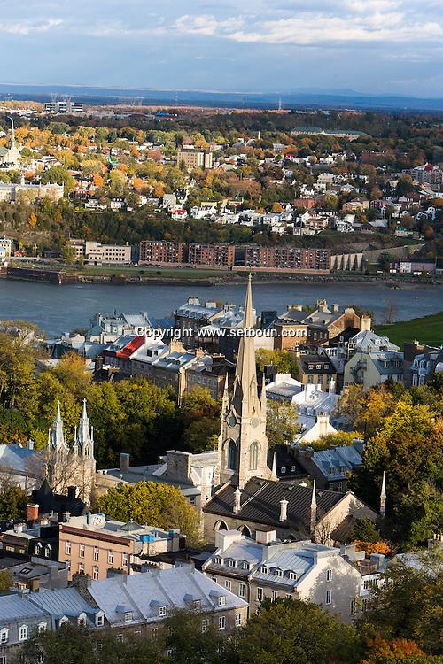 Canada. Quebec. general and aerial view of the city. the old city and the Saint Laurent river. church   / vue generale et aerienne de la ville. la vielle ville et le fleuve Saint Laurent. eglise