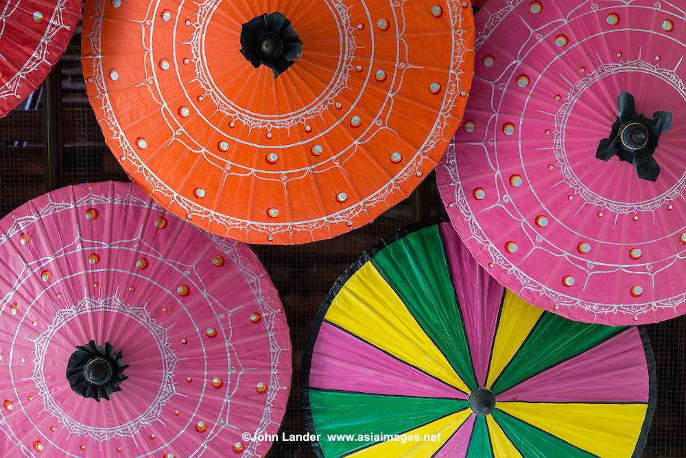 The village of Bo Sang, on the outskirts of Chiang Mai, is well known for its hand crafted umbrellas. Local artisans make the world famous parasols out of sa paper.  Visitors can even watch the process as artisans make the umbrellas from start to end: struts, paper and then painting them.