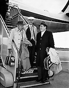 "Special for Aer Lingus - Arrival from new York of Barry Fitzgerald and J. J. O'Leary and Jack Feeney (John Ford).02/05/1959..Barry Fitzgerald (10 March 1888 - 14 January 1961) was an Irish stage, film, and television actor...J.J. O'Leary was Fitzgerald's best friend, the owner of a printing works...John Ford (February 1, 1894 - August 31, 1973) was an American film director. He was famous for both his westerns such as Stagecoach, The Searchers, and The Man Who Shot Liberty Valance, and adaptations of such classic 20th-century American novels as The Grapes of Wrath. His four Academy Awards for Best Director (1935, 1940, 1941, 1952) is a record, and one of those films, How Green Was My Valley, also won Best Picture..In a career that spanned more than 50 years, Ford directed more than 140 films (although nearly all of his silent films are now lost) and he is widely regarded as one of the most important and influential filmmakers of his generation. Ford's films and personality were held in high regard by his colleagues, with Ingmar Bergman and Orson Welles among those who have named him as one of the greatest directors of all time..In particular, Ford was a pioneer of location shooting and the long shot which frames his characters against a vast, harsh and rugged natural terrain..Ford was born John Martin ""Jack"" Feeney (though he later often gave his given names as Sean Aloysius, sometimes with surname O'Feeny or O'Fearna; an Irish language equivalent of Feeney)."