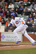 CHICAGO - APRIL 12:  Starlin Castro #13 of the Chicago Cubs bats against the San Francisco Giants on April 12, 2013 at Wrigley Field in Chicago, Illinois.  The Cubs defeated the Giants 4-3.   (Photo by Ron Vesely)   Subject:  Starlin Castro