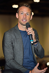 © Licensed to London News Pictures. 18/02/2016.  JENSEN BUTTON talks at the launch of the London Classic Car Show.  The four day event brings together classic car owner, dealers, collectors, experts and enthusiasts. London, UK. Photo credit: Ray Tang/LNP