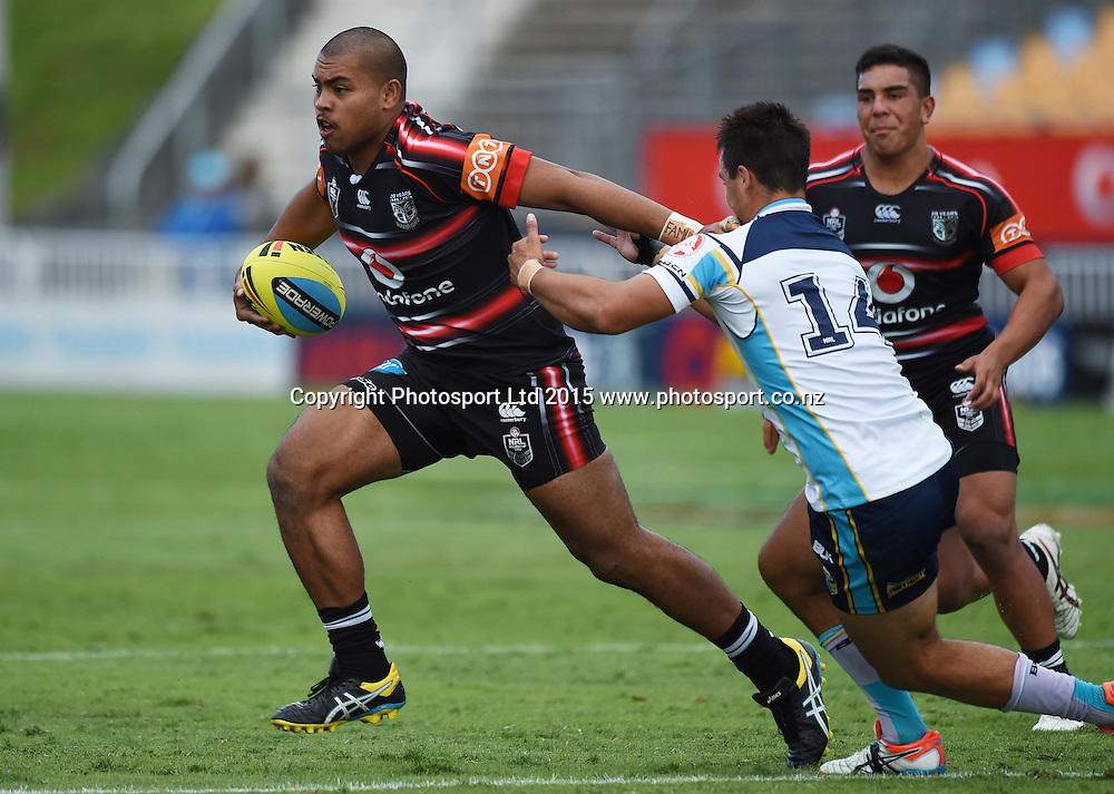 Amoni Tufui. Junior Warriors v Junior Titans. NYC Holden Cup U20s Rugby League. Mt Smart Stadium, Auckland. New Zealand. Anzac Day, Saturday 25 April 2015. Copyright Photo: Andrew Cornaga / www.Photosport.co.nz