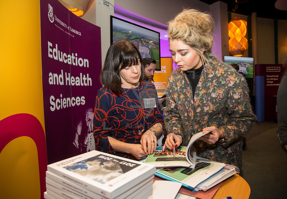 09.03.2017<br /> Pictured at the University of Limerick Post Grad Open Evening in the North Campus Pavilion were, Dr. Lynn O'Doherty, Education and Health and Grainne Buicke, Newcastle West, Limerick. Picture: Alan Place