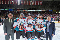 KELOWNA, CANADA - MAY 13: WHL Vice President Richard Doerksen Colten Martin #8, Tyson Baillie #24 and Rourke Chartier #14 of Kelowna Rockets and WHL Commission Ron Robison stand on the ice during the presentation of the championship pucks on May 13, 2015 during game 4 of the WHL final series at Prospera Place in Kelowna, British Columbia, Canada.  (Photo by Marissa Baecker/Shoot the Breeze)  *** Local Caption *** Richard Doerksen; Ron Robison; Colten Martin; Tyson Baillie; Rourke Chartier;