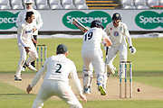 WICKET - Chris Wright traps Alex Lees LBW during the Specsavers County Champ Div 2 match between Durham County Cricket Club and Leicestershire County Cricket Club at the Emirates Durham ICG Ground, Chester-le-Street, United Kingdom on 18 August 2019.