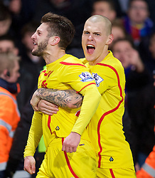 LONDON, ENGLAND - Saturday, February 14, 2015: Liverpool's Adam Lallana celebrates scoring the second goal against Crystal Palace with team-mate Martin Skrtel during the FA Cup 5th Round match at Selhurst Park. (Pic by David Rawcliffe/Propaganda)