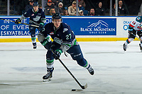 KELOWNA, BC - JANUARY 30:  Brecon Wood #27 of the Seattle Thunderbirds skates with the puck against the Kelowna Rockets at Prospera Place on January 30, 2019 in Kelowna, Canada. (Photo by Marissa Baecker/Getty Images)