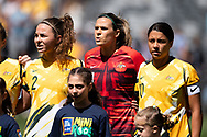 SYDNEY, AUSTRALIA - NOVEMBER 09: Sam Kerr, Lydia Williams and Jenna McCormick of Australia sing the anthem during the International friendly soccer match between Matildas and Chile on November 09, 2019 at Bankwest Stadium in Sydney, Australia. (Photo by Speed Media/Icon Sportswire)
