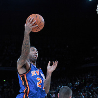 06 October 2010: New York Knicks forward Wilson Chandler #21 goes to the basket over Minnesota Timberwolves Kevin Love during the Minnesota Timberwolves 106-100 victory over the New York Knicks, during 2010 NBA Europe Live, at the POPB Arena in Paris, France.