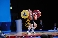 Velagic ALMIR (GER) in the clean and jerk, The London Prepares Weightlifting Olympic Test Event, ExCel Arena, London, England December 11, 2011.