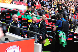 BARNSLEY LIFT AND CELEBRATE  THE WINNING 2016 JOHNSTONE PAINT TROPHYANDY WOOLMER REFEREE, Barnsley v Oxford United, Johnstones Paint Trophy Final Wembley Stadium Sunday 3rd April 2016, (Score Barnsley 3, Oxford 2)