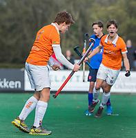 BLOEMENDAAL - aanvoerder Joppe van Liebergen (Bldaal)  scoort 3-2  tijdens de competitiewedstrijd hockey jongens B , Bloemendaal JB1-Breda JB1 (3-2)  , COPYRIGHT KOEN SUYK
