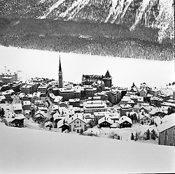 St.Moritz seen from the ski slopes above the town, St.Moritz, Switzerland in February 1960.