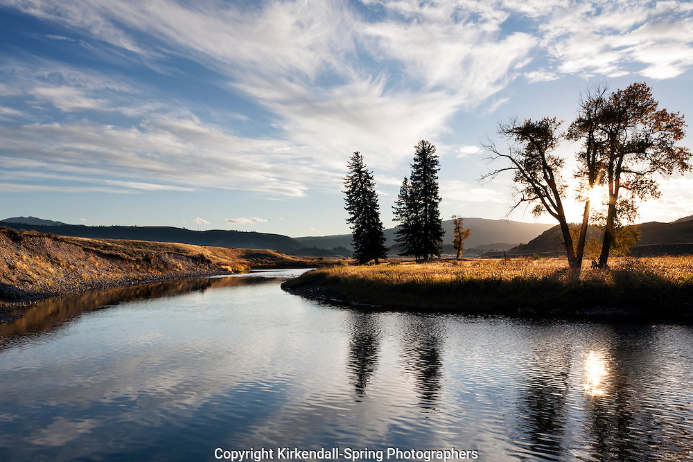 WY01890-00...WYOMING - Sunset along Slough Creek in the Lamar Valley of Yellowstone National Park.