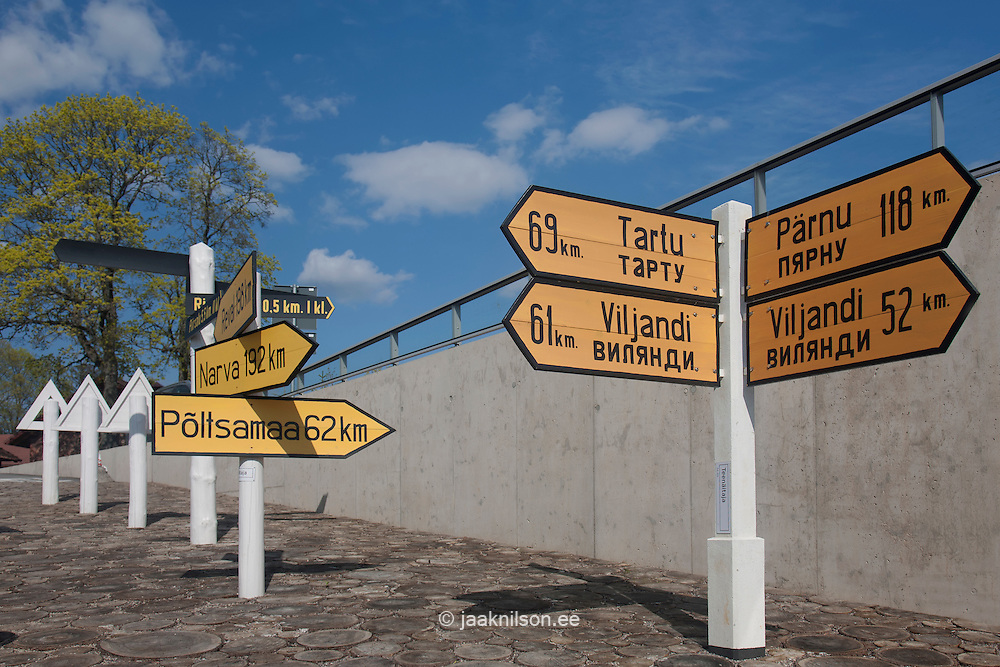 Traffic and information signs in Estonian Road Museum. Exposition, exhibition
