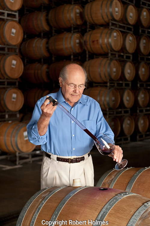 Tony Terlato in the barrel room at Chimney Rock winery, Napa