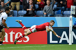 Gordon McRorie of Canada dives for the try-line but the score is later ruled out - Mandatory byline: Patrick Khachfe/JMP - 07966 386802 - 06/10/2015 - RUGBY UNION - Leicester City Stadium - Leicester, England - Canada v Romania - Rugby World Cup 2015 Pool D.