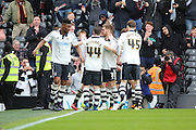Fulham midfielder and captain, Scott Parker (08)  and team mates celebrating scoring 1-1 during the Sky Bet Championship match between Fulham and Cardiff City at Craven Cottage, London, England on 9 April 2016. Photo by Matthew Redman.