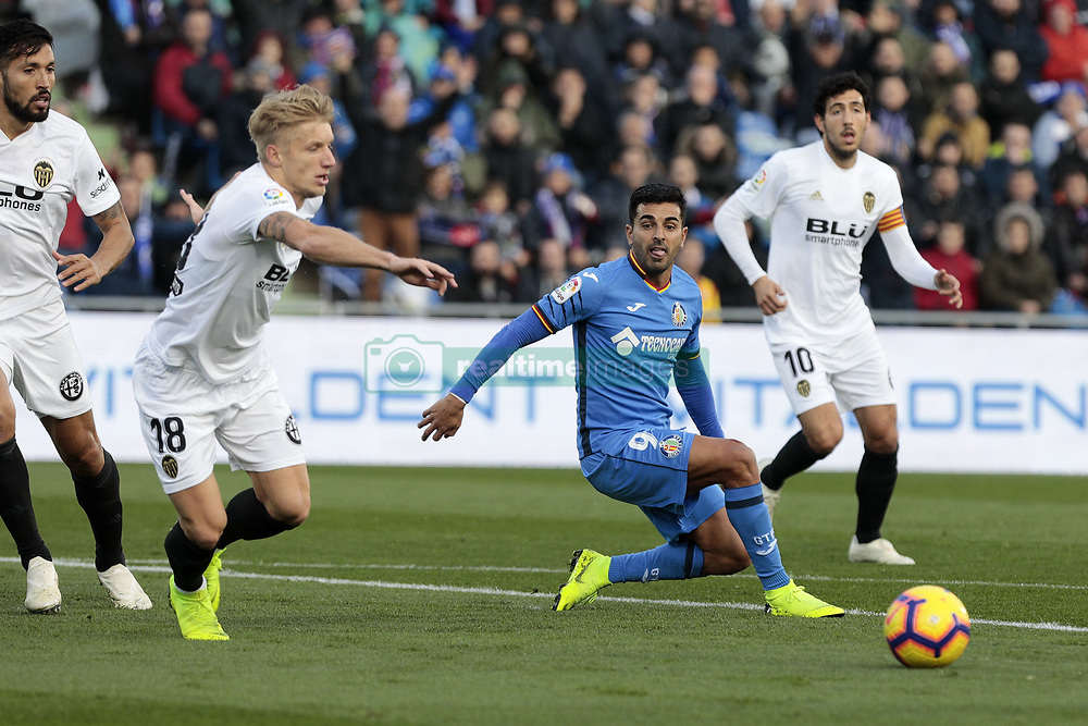 November 10, 2018 - Getafe, Madrid, Spain - Getafe CF's Angel Rodriguez and Valencia CF's Daniel Wass during La Liga match between Getafe CF and Valencia CF at Coliseum Alfonso Perez in Getafe, Spain. November 10, 2018. (Credit Image: © A. Ware/NurPhoto via ZUMA Press)