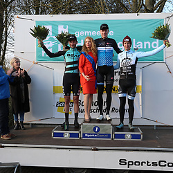 07-03-2020: Wielrennen: Ronde van Groningen: Usquert <br />Tijmen Eising wint na 2017 de editei van 2020 voor Luuc Bugter en Stijn Daemen