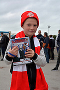 Walsall fan during the Capital One Cup match between Walsall and Chelsea at the Banks's Stadium, Walsall, England on 23 September 2015. Photo by Alan Franklin.