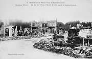 World War I 1914-1918: Aftermath of the First Battle of the Marne, near Paris, France, 5-12 September 1914 - view the town of Revigny with the Town Hall, centre, after the bombardment. The battle was a Allied strategic  victory.