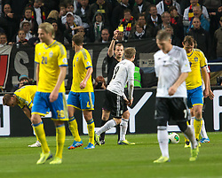 15.10.2013, Friends Arena, Stockholm, SWE, FIFA WM Qualifikation, Schweden vs Deutschland, Gruppe C, im Bild Germany 9 Andre Sch&uuml;rrle Schurrle varning gult kort warning yellow card,, , Nyckelord , Keywords : football , fotboll , soccer , FIFA , World Cup , Qualification , Sweden , Sverige , Schweden , Germany , Tyskland , Deutschland // during the FIFA World Cup Qualifier Group C Match between Sweden and Germany at the Friends Arena, Stockholm, Sweden on 2013/10/15. EXPA Pictures &copy; 2013, PhotoCredit: EXPA/ PicAgency Skycam/ Ted Malm<br /> <br /> ***** ATTENTION - OUT OF SWE *****