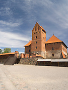 Interior courtyard view of Trakai Castle, one of LIthuania's most famous historical landmarks.